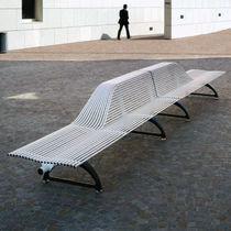 contemporary public bench in metal (with backrest) LIBRE HALF by Alfredo Tasca METALCO