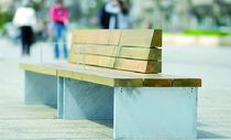 contemporary public bench in wood and concrete (with backrest) TEMPO Divers cité