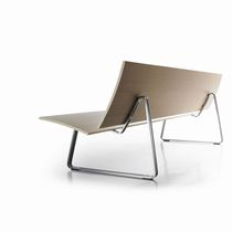 contemporary public bench in wood and metal LASAI by Burkhard Vogtherr Sellex