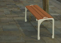 contemporary public bench in wood and metal ALDE MOD 08 GHM