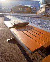 contemporary public bench in wood and metal INTERCITY Lago