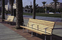 contemporary public bench in wood and metal (with backrest) MARINA by JM Massana - JM Tremoleda Mobles 114 Barcelona