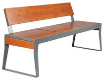 contemporary public bench in wood and metal (with backrest) MOSHI AUBRILAM
