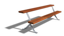 contemporary public bench in wood and metal (with backrest) ALEPH 2,25 M by Junquera, Jerónimo  DAE