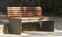 contemporary public bench in wood and metal (with backrest) CIMA Divers cité