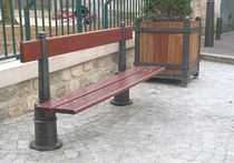 contemporary public bench in wood and metal (with backrest) AMBIANCE  GHM
