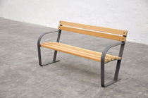 contemporary public bench in wood and metal (with backrest) La Tonda Miramondo