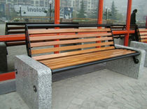 contemporary public bench in wood and stone (with backrest) D2 CITY Future City