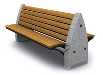 contemporary public bench in wood and stone (with backrest) D20 GOTHIC Future City
