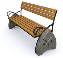 contemporary public bench in wood and stone (with backrest) D21 GOTHIC Future City