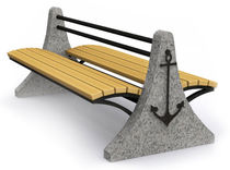 contemporary public bench in wood and stone (with backrest) D23_2 OCEAN Future City