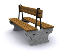 contemporary public bench in wood and stone (with backrest) D24 PARIS Future City