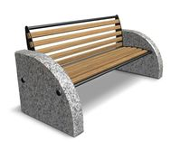 contemporary public bench in wood and stone (with backrest) D5 SPORTS Future City