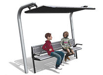 contemporary public bench in metal with shelter RP872 Record RSS