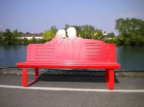 contemporary public bench in steel (with backrest) ROMEO & JULIETTE AFF Mobilier Urbain
