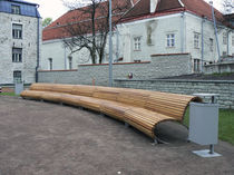 contemporary public bench in wood and metal HARJU ST. Keha3