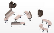 contemporary public bench in wood and metal (modular) SET 40 Beca System