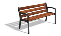 contemporary public bench in wood and metal (with backrest) MONTSENY 1,50 M by Milá, Leopoldo  DAE
