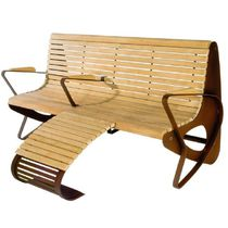 contemporary public bench in wood and metal (with backrest) ALL : RELAX by Gherardo Pertile euroform w