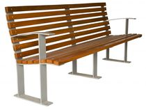 contemporary public bench in wood and metal (with backrest) SIR GLS Prefabricados