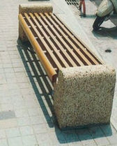 contemporary public bench in wood and stone  AHE