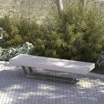 contemporary public bench in concrete and steel SLITTA LAB23