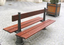 contemporary public double side bench in wood and metal AMBIANCE GHM