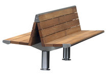 contemporary public double side bench in wood and metal LAMELLO A DOUBLE ASSISE SARRAGALA