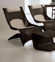 contemporary rattan armchair with footstool PAUSA GASPARUCCI