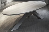 contemporary solid wood dining table CROSSTABLE 3-BEAM by G.der.Kinderen ZinX
