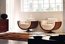 contemporary swivel armchair ESSENCE: WAVE Rattan Wood