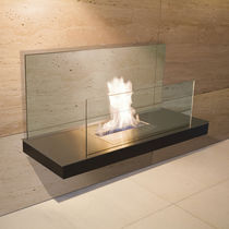 contemporary wall-mounted fireplace (bioethanol open hearth) WALL FLAME 2 RADIUS DESIGN
