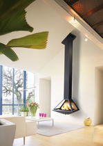 contemporary wall-mounted fireplace (wood-burning closed hearth) AERA DON-BAR