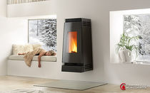 contemporary wall-mounted wood-burning stove LINEA 8 Caminetti Montegrappa