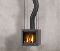 contemporary wall-mounted wood-burning stove BORA FLEX Platonic Fireplace