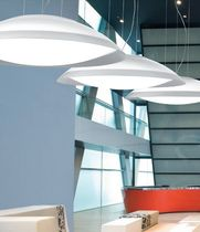contemporary white methacrylate pendant lamp LENS by Cristian Cubiñá alma light