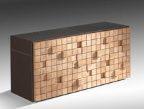 contemporary wood and leather chest of drawers EKO by Erwan Péron TurriniBY