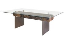 contemporary wood and metal secretary desk GLASS TOP AND METAL DESK Rotsen Furniture