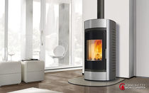 contemporary wood-burning boiler stove MIRAGE A.16.AQ Caminetti Montegrappa