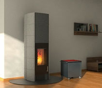 contemporary wood-burning stove T-LINE ECO2 TALL VERSION by GANN & Gabriela V. A. Riemens Tonwerk Lausen AG