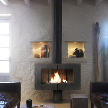 contemporary wood-burning stove (cast iron) SYMPHONIA by B. Dequet INVICTA