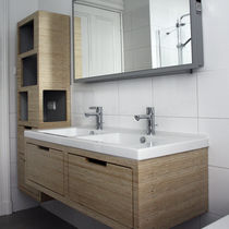 contemporary wood veneer bathroom  Plexwood