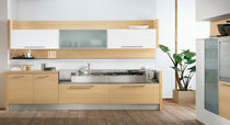contemporary wood veneer / glass kitchen AURORA Arredo3 s.r.l.