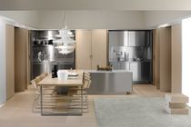 contemporary wood veneer / stainless steel kitchen SPATIA: COMPOSITION 2 by Antonio Citterio Arclinea