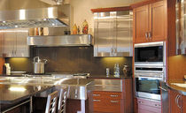 contemporary wood veneer / stainless steel kitchen BENTWOOD CUSTOM  bentwood Luxury Kitchens