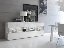 contemporary wooden and lacquered glass sideboard TRILOCY Satarossa Design