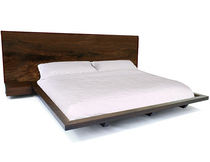 contemporary wooden double bed CLARO WALNUT BED #2 Hudson Furniture