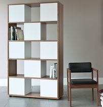 contemporary wooden modular shelf SLIDE by Bethan Gray case