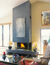 custom contemporary 3 sided fireplace (wood-burning closed hearth) PLEIN FEU 100 Piros