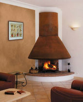 custom contemporary corner fireplace (wood-burning open hearth)  Piros